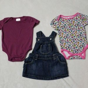 Baby lot 3-6 Old Navy overall dress + 2 onesies!
